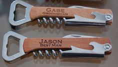 Personalized Wine/Beer Bottle Opener, Groomsmen Gifts, Engraved Wooden Wine Bottle Opener, Engraved Multi Tool Corkscrew, Gift for Ushers