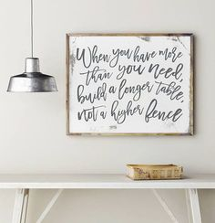 When You Have More Than You Need, Dining Room Decor, Dining Room Wall Art, Rustic Dining Room Decor, Fixer Upper Style Sign, Kitchen Decor // Design by PrintablesbyOakHouse