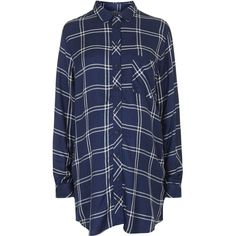 TOPSHOP MATERNITY Oversized Shirt (802.430 IDR) ❤ liked on Polyvore featuring maternity and navy blue