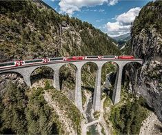 Glacier Express on the Landwasser Viaduct, Graubuenden. Copyright by: Rhaetische Bahn/Swiss Travel System By-line: swiss-image. Zermatt, Glacier Express, Swiss Travel Pass, Bernina Express, Scenic Train Rides, Train Journey, By Train, Easy Workouts, Scenery