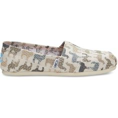 Natural Burlap Llamas Women's Classics ($55) ❤ liked on Polyvore featuring shoes, patterned shoes, slip on shoes, slip-on shoes, print shoes and burlap shoes