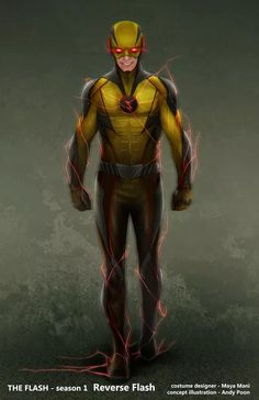 "Revealed: The Original Concept Art for the Awesome ""Reverse Flash"" Costume in 'The Flash'! 