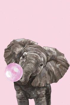 Elephant Art, Cute Elephant, Pink Elephant, Elefant Wallpaper, Canvas Art, Canvas Prints, Art Prints, Cute Wallpapers, Wallpaper Backgrounds
