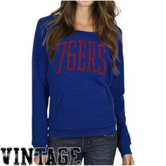 d1b9a44a6 Junk Food Philadelphia 76ers Women's Fadeaway Crew Fleece Pullover  Sweatshirt - Royal Blue
