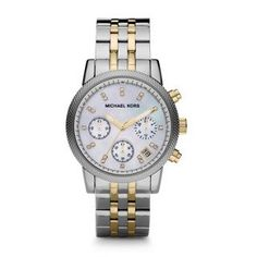 Women's Wrist Watches - Michael Kors Watches TwoTone Chronograph with Stones *** Click image for more details.