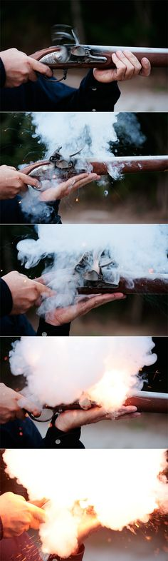 Flintlock ignition sequence. I have a feeling this may be double the amount of powder required in the pan-- at least I hope so: I wouldn't want to hold something flashing off like that close to my face-- but it's interesting to see the sequence broken down.