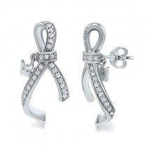 Sterling Silver 925 Cubic Zirconia CZ Ribbon w/ Crown Stud Earrings