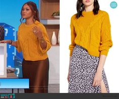 Eve's yellow sweater and satin skirt on The Talk Yellow Pleated Skirt, Satin Midi Skirt, Fashion Ideas, Fashion Outfits, Slip Skirts, Cable Sweater, Plaid Blazer, Yellow Sweater, Button Down Dress