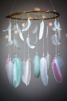 Pastel Dreamcatcher Mobile Dream catcher Mobile by HippiebyViki