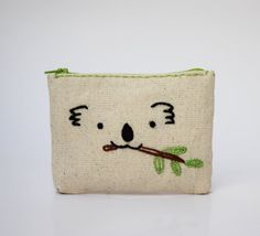 koala coin pouch   hand embroidery on linen  coin by NIARMENA