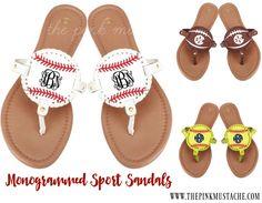 Monogrammed Sports Sandals - Baseball, Softball, Football, Soccer