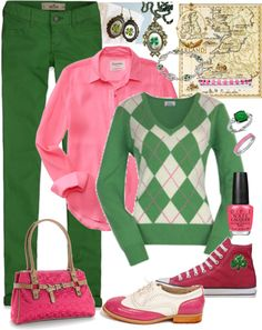"""Pink & Green Irish Preppy"" by teri-vanselous ❤ liked on Polyvore"