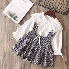 White Lace Splicing Blouse And Gingham Overalls Skirt Set - lace things Dresses Kids Girl, Kids Outfits, Baby Outfits, Kids Dress Wear, Rock Outfits, Baby Girl Fashion, Kids Fashion, Fashion Women, Fashion Trends