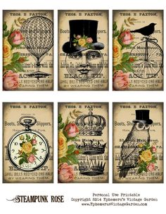 Free Printable Steampunk Rose ephemera