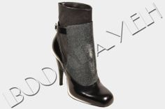FENDI RP:1500$ BLACK STINGRAY LEATHER COVERED VICTORIAN ANKLE BOOTS