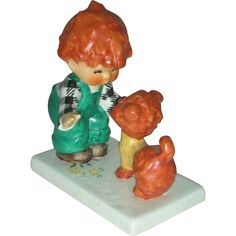 Vintage Red Head Figurine Atta Boy Goebel Charlot Byi with Dog from charlottewebcollectibles on Ruby Lane