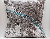 vintage PARIS map pillow DIY KIT, made to order 16x16 envelope style