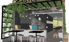 Bar Estilo Industrial   A fachada conta com um pergolado metálico coberto de vegetação, o que demarca a entrada do estabelecimento e ainda ajuda a proteger os clientes nas mesas externas da insolação direta.