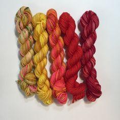 5 Koigu KPPPM sock yarn mini skeins - Scorching Sun by Chiagu on Etsy