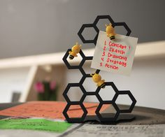 BEEEEE * HIVE Memo Magnetic holder Board message on the desk #Abel