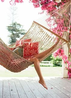 I love my hammock Darling made for me. I can read while he plays golf.....