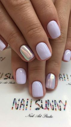 Nails shellac 45 Simple Summer Nails Colors Designs 2019 Lavender nails with silver accent Love Nails, Fun Nails, Summer Shellac Nails, Cute Shellac Nails, Acrylic Nails, Shellac Nail Colors, Coffin Nails, Shellac Manicure, Pointy Nails