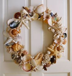 Shell and Sea Life Wreath - there is even a lobster claw!