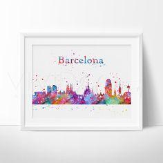 Barcelona Skyline Watercolor Art Print Wall Decor