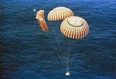 """August 7, 1971, Apollo 15 returned to Earth. Command module """"Endeavour"""" splashed down in the Pacific. One of the three main parachutes failed to open fully, resulting in a descent velocity 4.5km/hr (2.8mph) faster than planned. The crew was not harmed.   Photo credit: NASA"""
