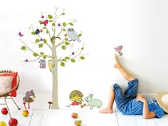 super sweet illustrated decals and other cute things for a mini room from French home decor company, Mimi Lou. Wall Stickers, Wall Decals, Wall Art, Childrens Bedroom Decor, Cute Paintings, Playroom Design, Kids Prints, Tree Wall, Room Themes