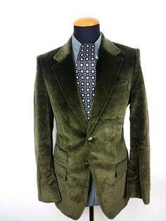 Hugo Boss Sakko Grün 2-Knopf Gr. 48 Slim Blazer size 38R Green Cotton Modal