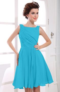 Turquoise Modest A-line Bateau Sleeveless Zip up Ruching Homecoming Dresses