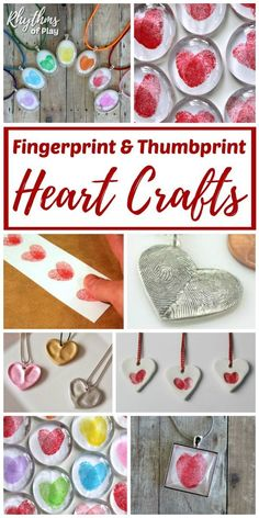 Fingerprint & Thumbprint Heart Crafts - These sweet gift ideas can be created by kids and adults! DIY fingerprint crafts make for a unique homemade gift idea. Consider adding these to your list for Valentine's Day, Mother's Day, Father's Day, Christmas, a Valentine's Day Crafts For Kids, Valentine Crafts For Kids, Valentines Day Activities, Mothers Day Crafts, Valentines Diy, Holiday Crafts, Crafts To Make, Fun Crafts, Arts And Crafts