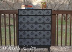 Rescued dresser painted with the help of Modern Masters Steel Gray Metallic Paint | Project: Whistle and Ivy