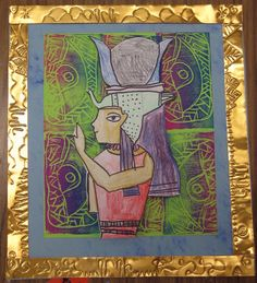 Cassie Stephens: Egyptian Style gods and goddesses elementary art lesson Egypt Africa multi-cultural multimedia Ancient Egypt Art, Starověký Egypt, 6th Grade Art, Fourth Grade, Ecole Art, School Art Projects, Diy Projects, Thinking Day, Art Lessons Elementary