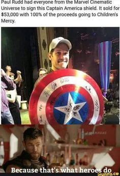 Paul Rudd with Captain America shield signed by avengers cast. Funny Marvel Memes, Dc Memes, Marvel Jokes, Avengers Memes, Marvel Dc Comics, Marvel Heroes, Thor Marvel, Marvel Universe, Images Murales