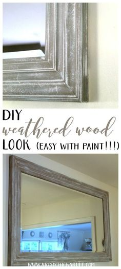 SO SIMPLE!! DIY Weathered Wood Look with Paint artsychicksrule.com