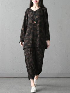 Loose Printed Shirt Two-piece Outfits For Women