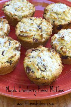 Maple Cranberry Power Muffins by Little Miss Dexterous