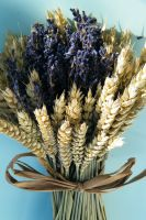 dried lavender bouquet with wheat