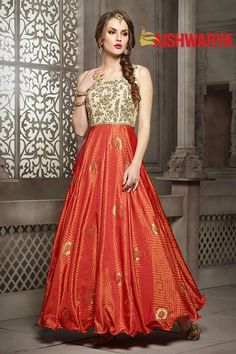 Be the fashionista as you don this dazzling designer anarkali. Buy Suit online - http://www.aishwaryadesignstudio.com/divine-cream-orange-anarkali-dress