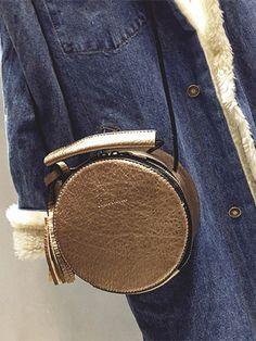 $14.92 Textured PU Leather Tassel Canteen Bag