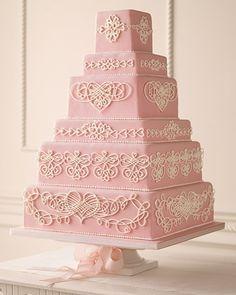 Wedding Ideas: pink-white-detail-wedding-cake