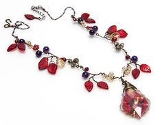 #Red Beaded Necklace #Red Purple Leaf Necklace #Autumn Jewelry Yellow Purple Red Beaded Necklace by CherylParrottJewelry on Etsy, $84.95