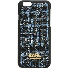 Karl Lagerfeld K/Kuilted Tweed Iphone 6 Hard Case ($32) ❤ liked on Polyvore featuring accessories, tech accessories, midnight blue, karl lagerfeld, iphone hard case, iphone cases, apple iphone cases and iphone cover case