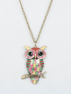 gold colored owl pendant necklace in pink owl jewelry