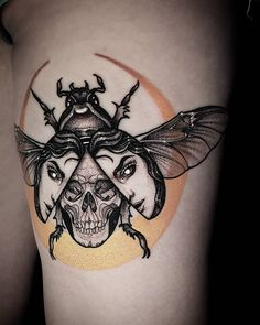 Neo-traditional scarab tattoo by Rocio Todisco, done in Johannesburg at the Black Lodge Scarab Tattoo, Neo Traditional, Body Tattoos, Horns, Tatting, Tattoo Designs, Skull, Josh Klinghoffer, Photo And Video