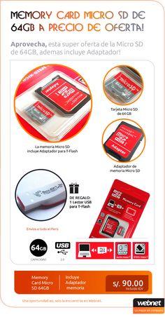 Aprovecha, esta super oferta de la Micro SD  de 64GB, ademas incluye Adaptador! a tan solo S/. 90.00 incluido IGV.