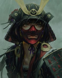 This HD wallpaper is about black haired female samurai character, warrior, fantasy art, lips, Original wallpaper dimensions is file size is Samurai Girl, Female Samurai Art, Oni Samurai, Fantasy Samurai, Samurai Concept, Fantasy Blade, Fortes Fortuna Adiuvat, Guerra Anime, Character Inspiration