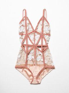 ae022b7ac41bb Darla Bodysuit Sexy mesh bodysuit featuring allover floral stitched  applique